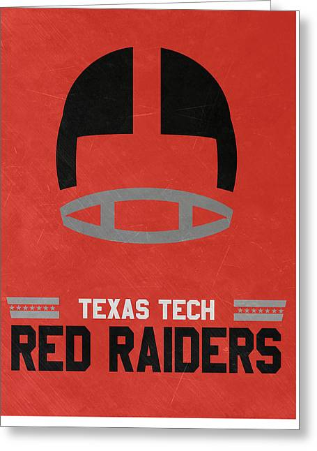 Texas Tech Red Raiders Vintage Football Art Greeting Card by Joe Hamilton