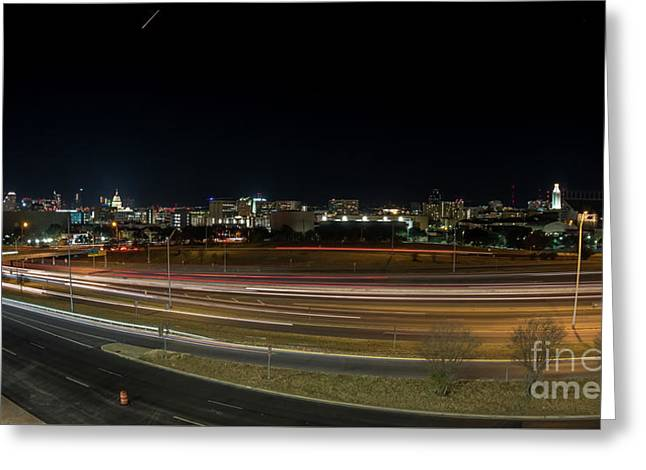 Texas University Tower And Downtown Austin Skyline From Ih35 Greeting Card
