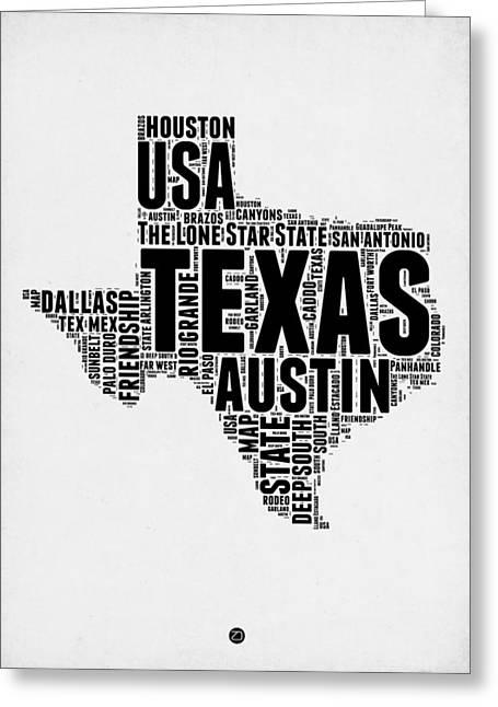 Texas Word Cloud 2 Greeting Card by Naxart Studio