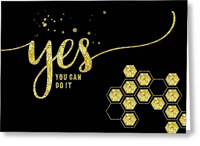 Text Art Gold Yes You Can Do It Greeting Card