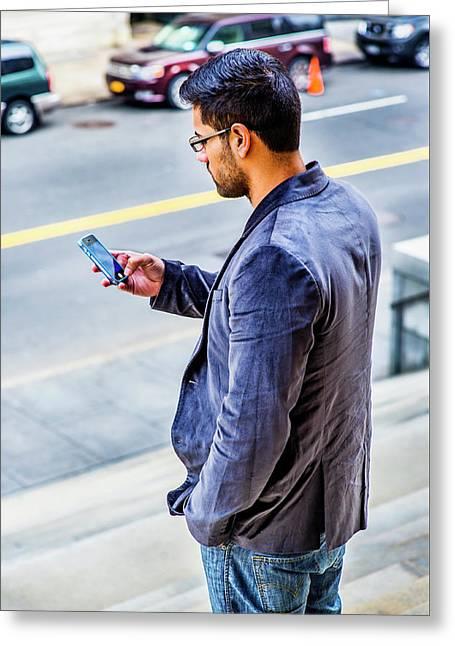 Man Texting Greeting Card