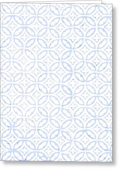 Textured Blue Diamond And Oval Pattern Greeting Card by Gillham Studios