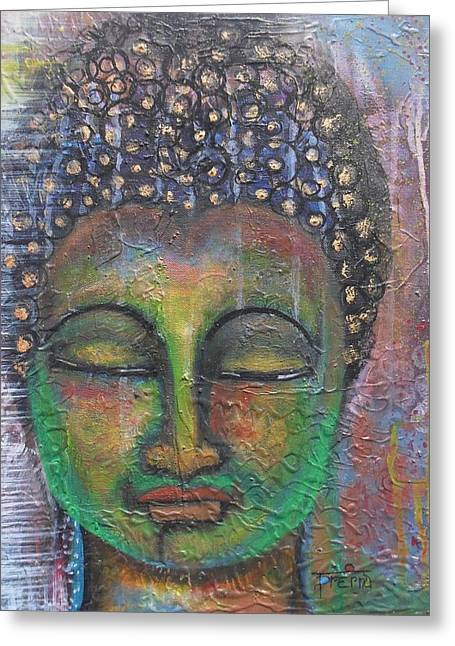 Textured Green Buddha Greeting Card by Prerna Poojara