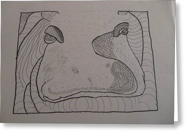 Greeting Card featuring the drawing Textured Hippo by AJ Brown