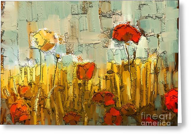 Textured Poppies Greeting Card by Carrie Joy Byrnes