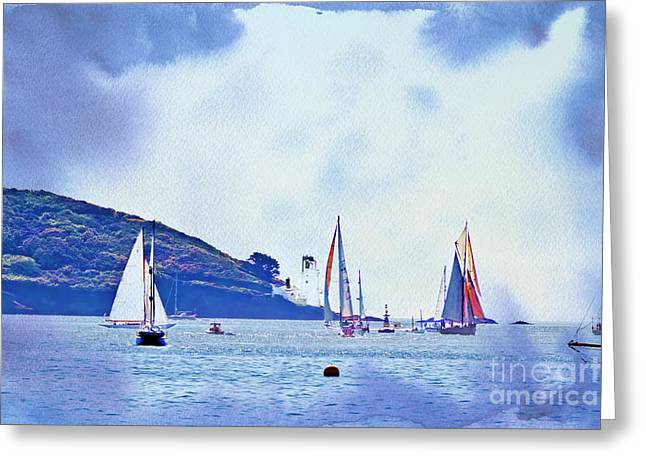 Textured Yachts Greeting Card by Terri Waters