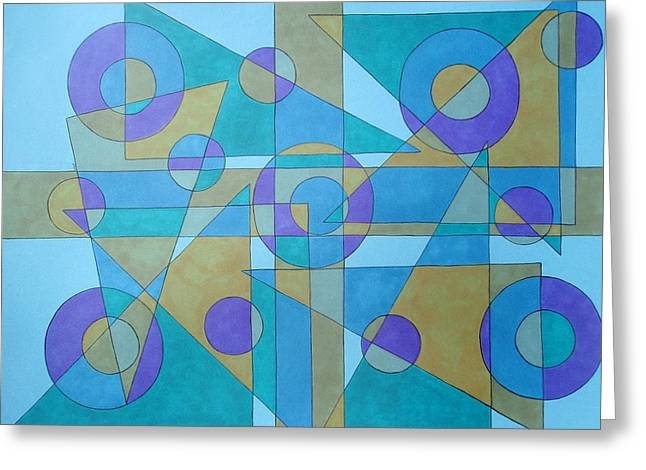 Greeting Card featuring the drawing Textures In Blue  by Beth Akerman