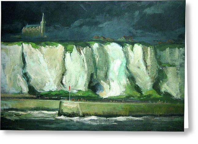 Tha Cliffs Of Etretat At Night Greeting Card by Zois Shuttie