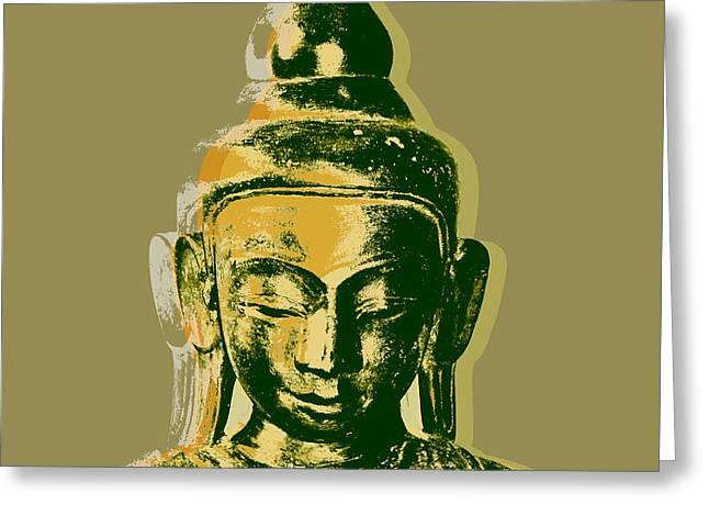 Greeting Card featuring the digital art Thai Buddha #4 Pop Art Warhol Style Print.  by Jean luc Comperat