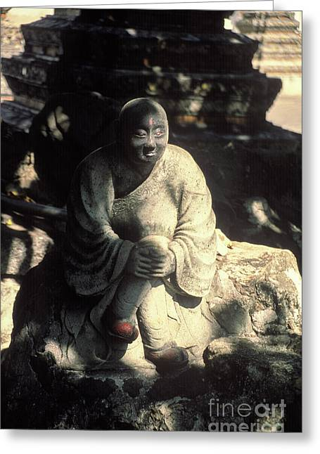 Thai Buddha In Front Of Temple Greeting Card by Tony Chadwick