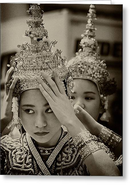 Thai Dancers Preparing Greeting Card