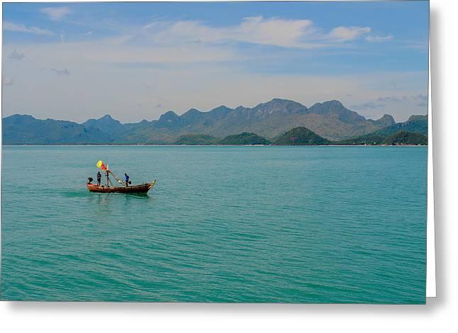 Thai Fisherman Greeting Card by Megan Martens