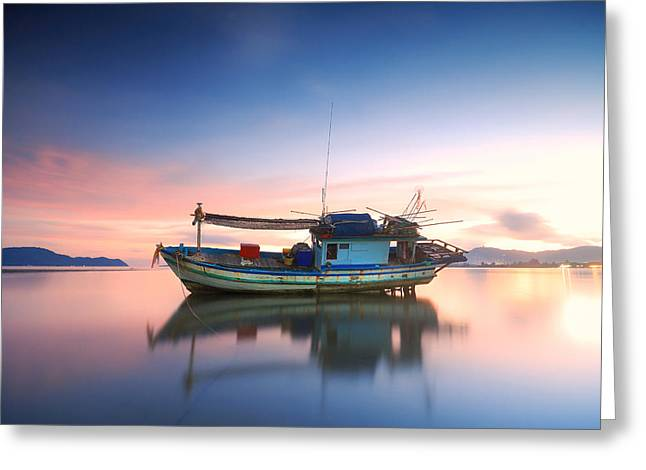 Thai Fishing Boat Greeting Card by Teerapat Pattanasoponpong