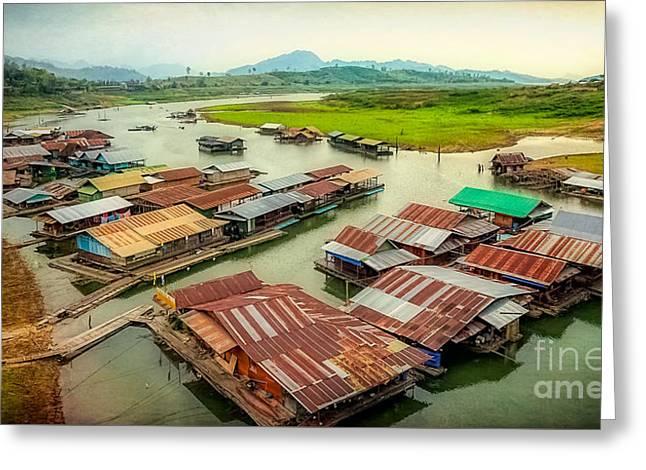Thai Floating Village Greeting Card by Adrian Evans