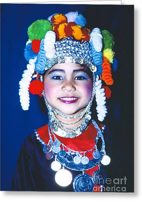 Greeting Card featuring the photograph Thai Girl Traditionally Dressed by Heiko Koehrer-Wagner