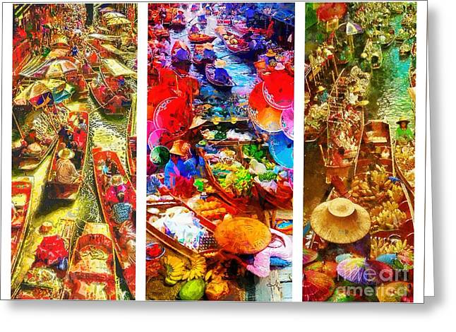 Thai Market Triptych Greeting Card