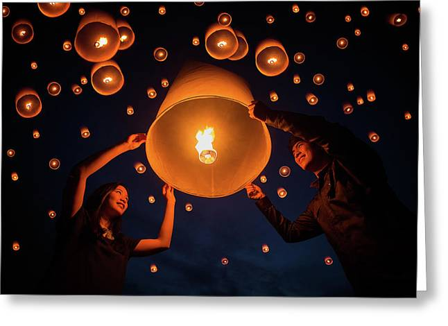 Thai People Floating Lamp In Yeepeng Festival Greeting Card by Anek Suwannaphoom