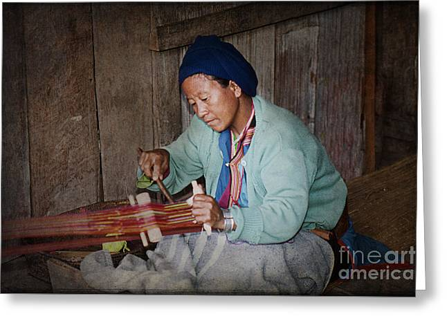 Greeting Card featuring the photograph Thai Weaving Tradition by Heiko Koehrer-Wagner
