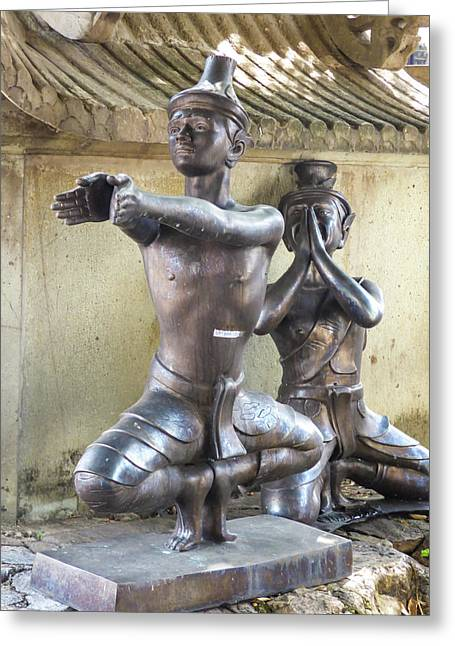 Thai Yoga Statues At Famous Wat Pho Temple Greeting Card