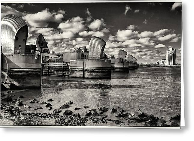 Thames Barrier At Low Tide Greeting Card