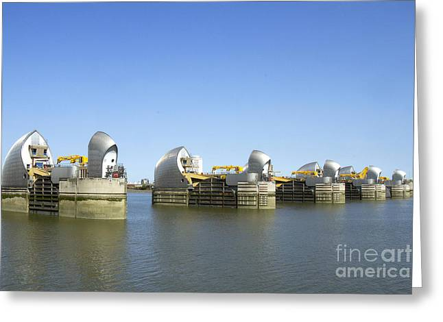 Mechanism Photographs Greeting Cards - Thames Barrier Greeting Card by Karen Foley