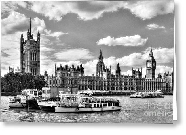 Greeting Card featuring the photograph Thames River In London Bw by Mel Steinhauer