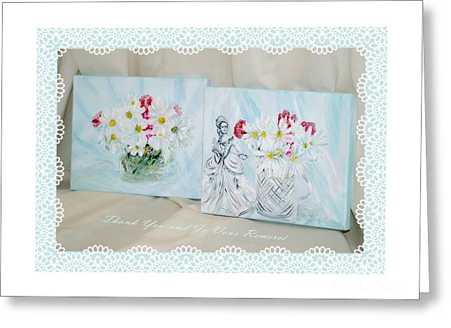 Thank You   And  Je Vous Remerci Collection Of 2 Paintings Greeting Card by Oksana Semenchenko