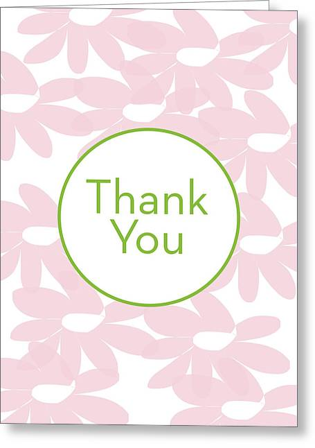 Thank You Card Pink Flowers- Art By Linda Woods Greeting Card