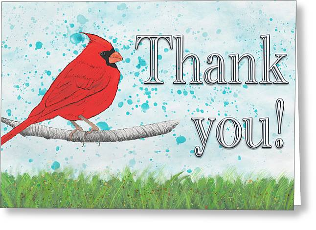 Thank You Card With Northern Cardinal Greeting Card