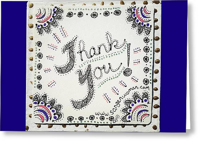 Greeting Card featuring the drawing Thank You by Carole Breccht