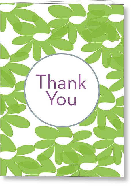 Thank You Green Flowers- Art By Linda Woods Greeting Card
