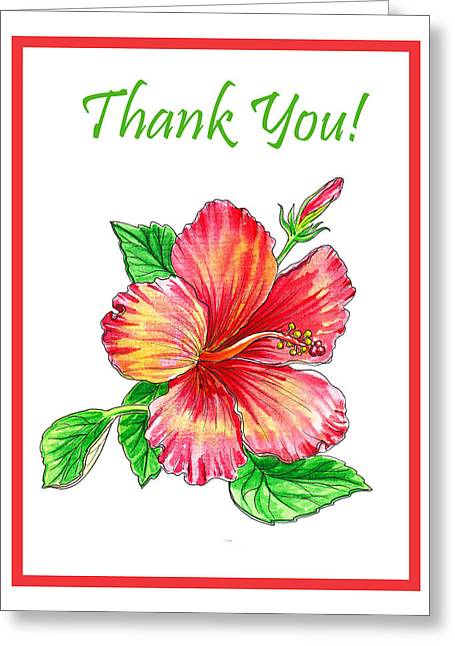 Thank You Hibiscus  Greeting Card