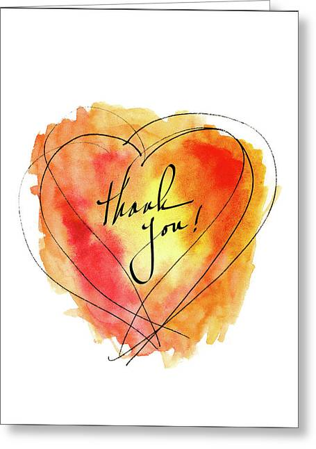 Thank You Notecard Red Orange Watercolor Heart Greeting Card