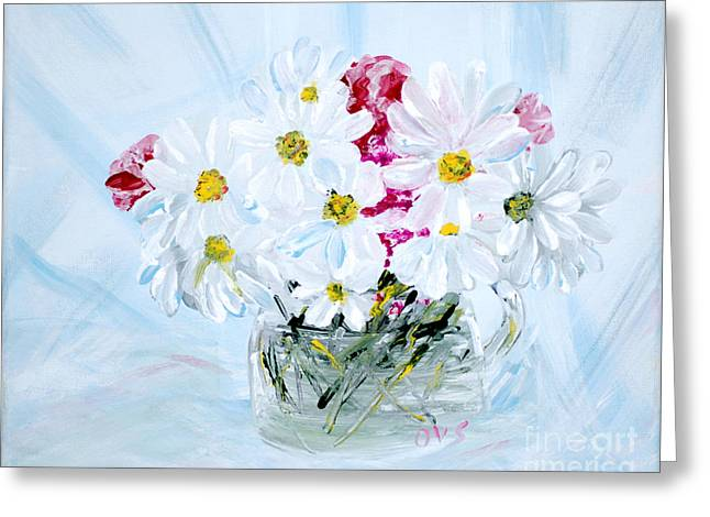 Thank You. Thank You - Je Vous Remerci Collection Of 2 Paintings Greeting Card by Oksana Semenchenko