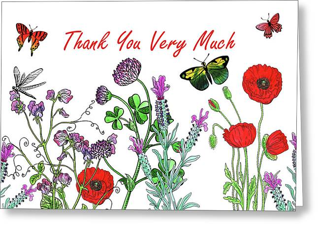 Thank You Very Much Card Watercolor Flowers And Butterflies Greeting Card