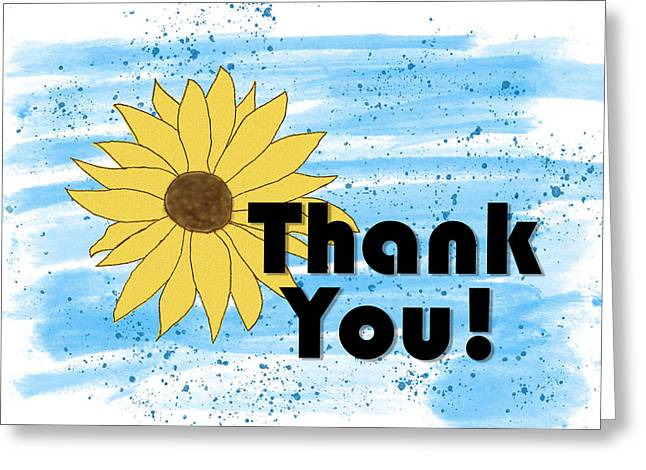 Thank You With Sunflower Greeting Card
