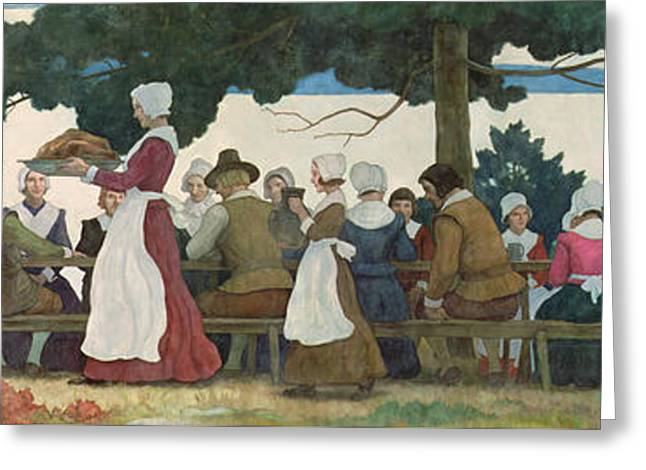 Thanksgiving Banquet Greeting Card by Newell Convers Wyeth