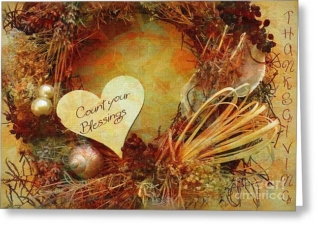 Greeting Card featuring the digital art Thanksgiving Card 2016 by Kathryn Strick