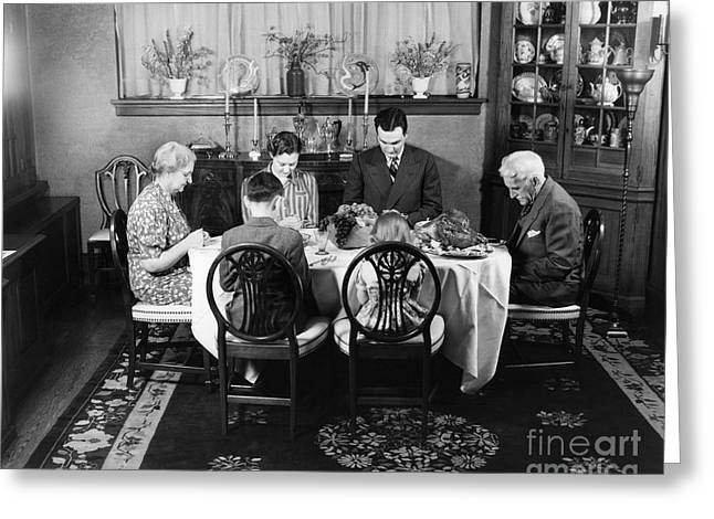Thanksgiving Dinner, Saying Grace Greeting Card by H. Armstrong Roberts/ClassicStock
