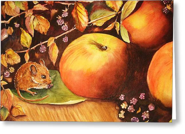 Thanksgiving Mouse Guest Greeting Card by Patricia Pushaw