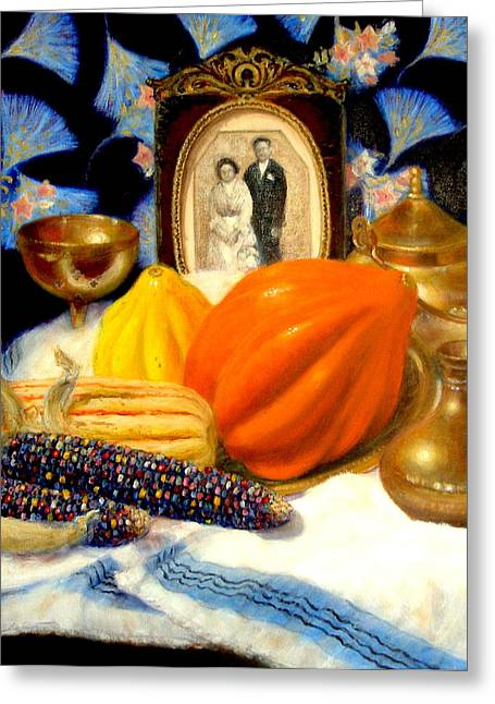 Greeting Card featuring the painting Thanksgiving Of The Past by Donelli  DiMaria