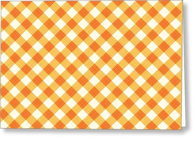 Thanksgiving Or Autumn Gingham Fabric Texture Greeting Card by Natalia Ratselmeister