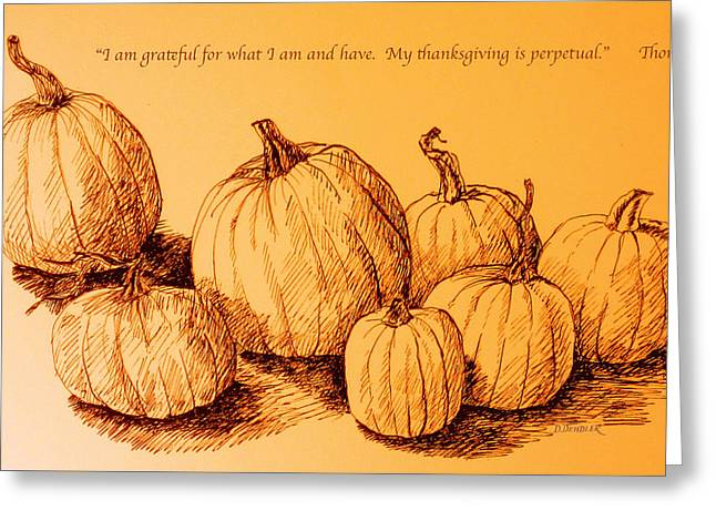 Thanksgiving Pumpkins Greeting Card by Deborah Dendler
