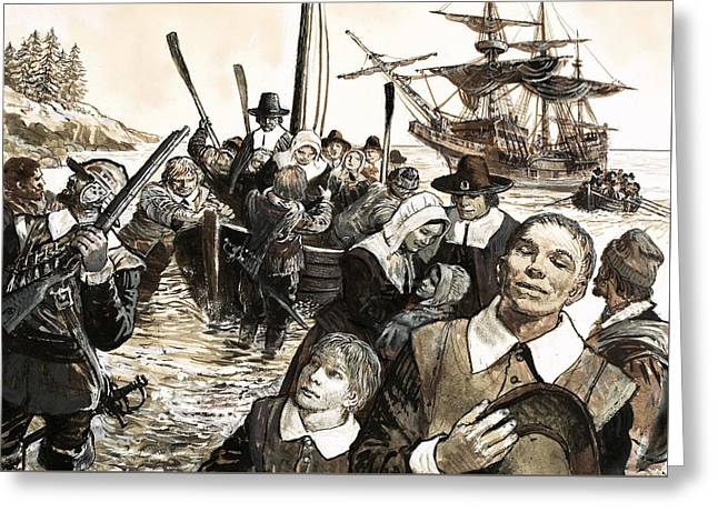 Thanksgiving - The Pilgrim Fathers Greeting Card by English School