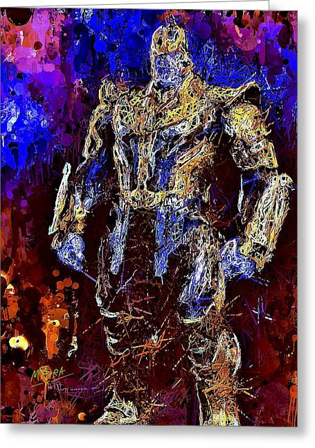 Greeting Card featuring the mixed media Thanos by Al Matra
