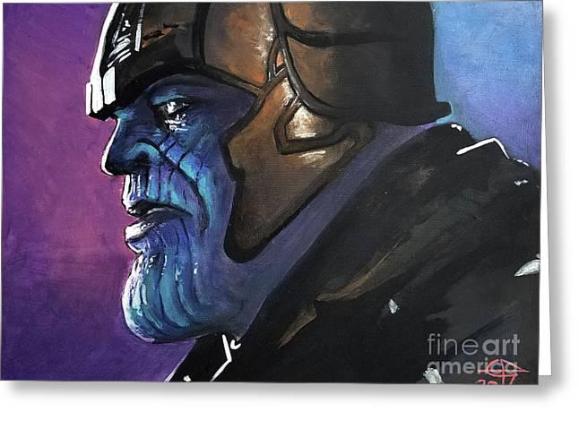 Thanos Greeting Card by Tom Carlton