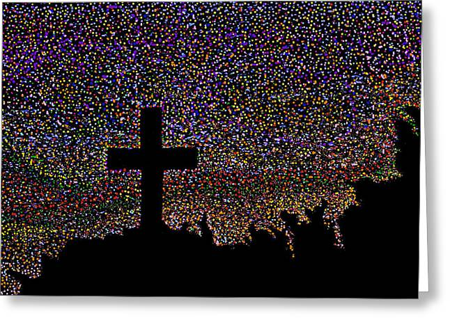 That Cross Out On The Hill Greeting Card by Darin Baker