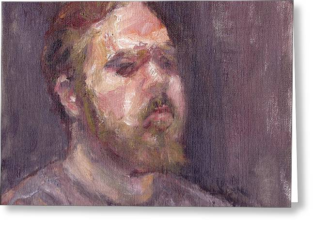 That Look - Contemporary Impressionist Portrait Greeting Card by Quin Sweetman