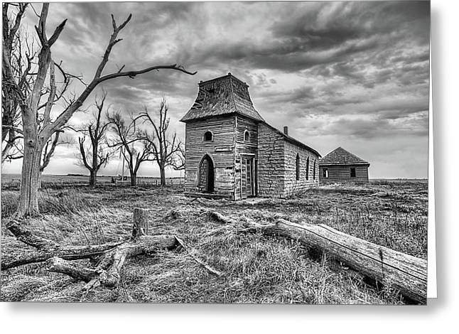 Greeting Card featuring the photograph That Old Time Religion Black And White by JC Findley