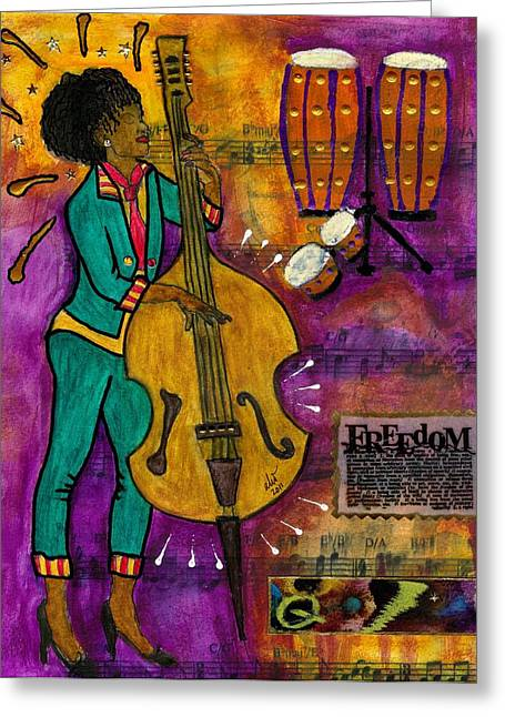 That Sistah On The Bass Greeting Card